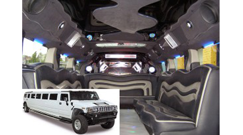 White Hummer H2 Luxury Limousine Interior